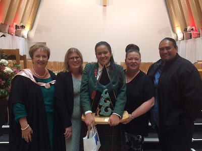 Principal of Avonside Girls High School Sue Hume, Waitangi speech representative Monika Kern, Te Hinenga Te Hēmi, her parents Tracy and Hēmi Te Hēmi.