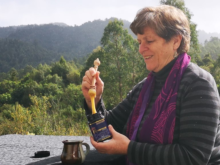 Brenda Tahi making a cuppa at home.